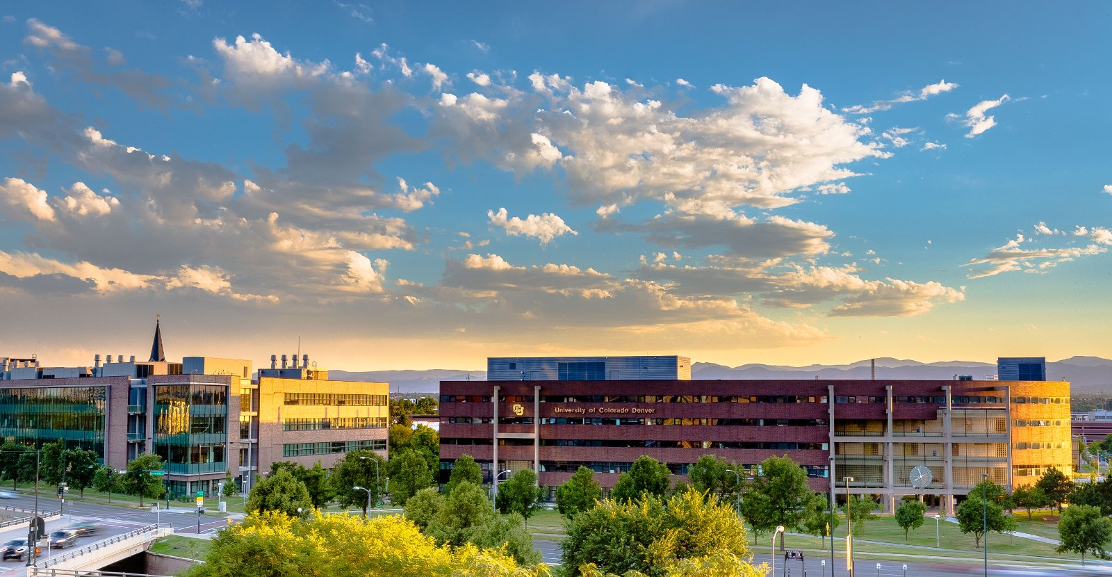 Cu_denver_campus_buildings_at_dusk
