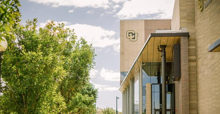 Trees and building with CU logo